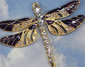 1 Large Purple Dragonfly Pendant Enamel Gold Tone & Rhinestones 56 mm x 63 mm (P1779)