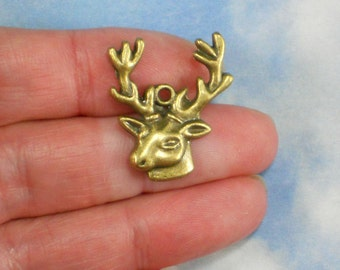 6 Stag Big Buck Head Charms Antique Bronze Tone Deer (P1705)