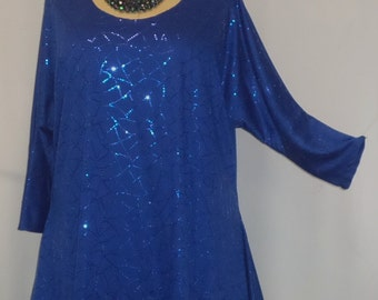 Plus Size Top Coco and Juan Lagenlook Plus Size Tunic Royal Blue Sparkle Drape Sides Tunic Top One Size Bust  to 60 inches