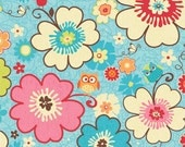 Happy Flappers Blue Owl Fabric, Fabric by the yard or half yard, or fat quarter, cotton fabric, quilt fabric, apparel fabric, kids fabric,