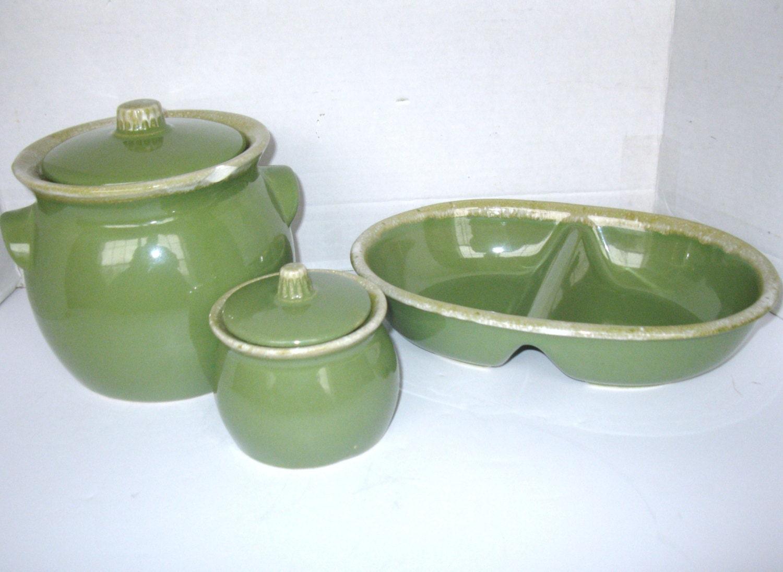 Hull Usa Midcentury Stoneware Pottery Olive Green Crock