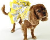 Dog Dress Sizes XXS to Large in Yellow and Gray Flowers and Polka Dots