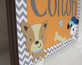 "9"" x 11"" Personalized Door Sign . M2M Lambs and Ivy Bow Wow Buddies . Colton"