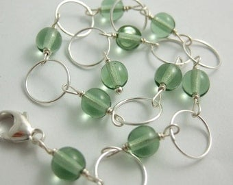 Bracelet with Mint Green Glass Round Beads and Sterling Silver Loops CB-37