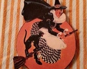 Flying Witch Halloween Ornament Vintage Image Ornie