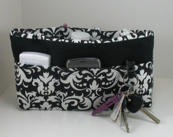 Purse Organizer Insert with Enclosed Bottom -White Damask on Black - 5 sizes available- large size pictured