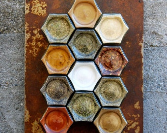 Rustic Chic Kitchen Decor // Magnetic Spice Rack: 12 Empty Large (4 oz) Jars, Customized Hand-Stamped Lids & Rusted Plate. Save Space!