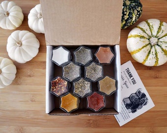 Housewarming Spice Kit: 10 Hand-Stamped Magnetic Jars Filled with Organic Spices. Add Art & Color to Your Kitchen. Hostess Gift.