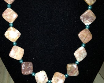 Necklace - Marble with Turquoise Accent N0116