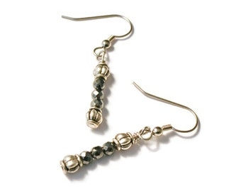 Black/Silver Magnetic Hematite Therapy Earrings, Good Health, Pain Relief