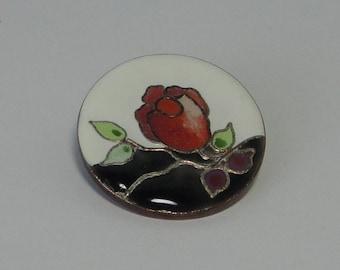 1980 HALLMARK Cloisonne Rose Pendant/Brooch/Pin
