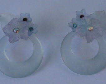 1980s Satin Blue Lucite with Rhinestones Pierced  Post  Earrings.