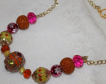 Orange,Green,and Pink Necklace on Gold Chain
