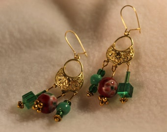 Red and Green and Gold Earrings