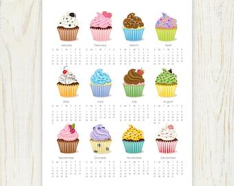 2018 Cupcake Calendar digital 8x10
