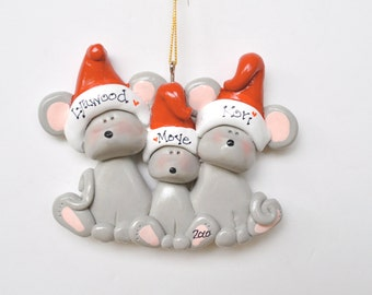 Personalized Mouse Family of 3 Christmas Ornament