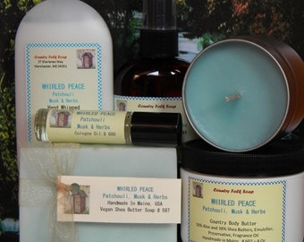 WHIRLED PEACE Patchouli Bath Gift Set - Handmade in Maine Soap, Body Butter, Perfume & Candle
