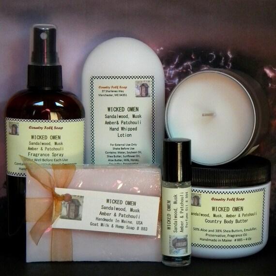 WICKED OMEN Soap Gift Set Sandalwood, Musk, Amber & Patchouli - Handmade Spa Set