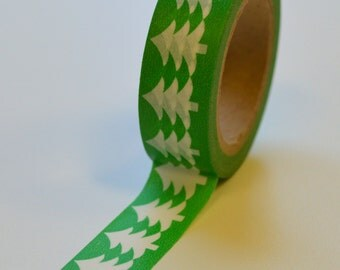 Washi Tape - 15mm White Christmas Trees on Green - Deco Paper Tape No. 1031