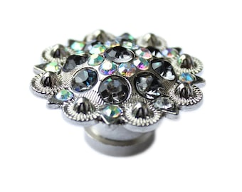 Crystal Drawer Knob - Crystal Cabinet Knobs with Gray and Iridescence Crystals (MK160-04)