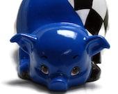 Ceramic Piggy Bank - Bright Blue - Checkered Flag - Racing - Motorsports
