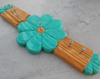 Turquoise Hand Carved Wood Key Holder   ---  Turquoise Hand Carved Wood Jewelry Holder  --  Leash Holder