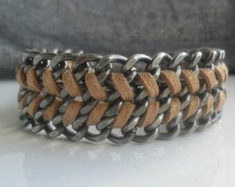Gunmetal Chain Cuff /  Chunky Chain Chevron  Bracelet  / Handwoven Bracelet  / Rock Chic Accessories / Gold  Woven Bracelet Gift For Her