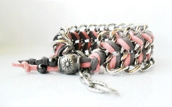 Chunky Chain Bracelet / Gunmetal Pastel Fashion Pink / Gray Chevron Cuff Braided bracelet Big Chain Bracelet Stack Armcandy Boho Rock Chic