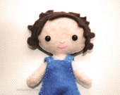Mini Felt Doll Pattern, Tiny Pocket Doll Boy With Curly Hair