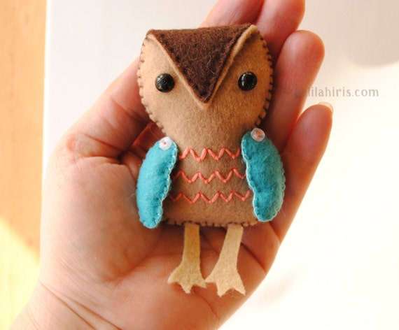 Felt Ornament Pattern - Stuffed Owl Christmas Ornament ...