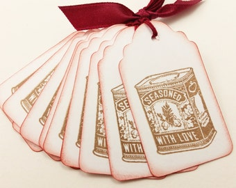 Cookie Exchange Tags Seasoned with Love Baking Cooking Kitchen Wedding Favor Set of 10