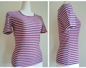 Vintage Mod Striped Tshirt // Red White Blue Striped Top // Geometric Print Acrylic Knit // Trimfit