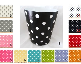 Polka Dot Wastebasket - Trash Can - Waste Basket - with or without ribbon and bow