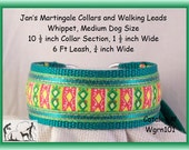 Jan's Martingales, Green Collar and Leash Combination Walking Lead, Whippet, Medium Dog Size, wgrn101
