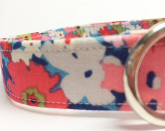Pretty Pink Blue Flowers Fabric Dog Collar for Girl
