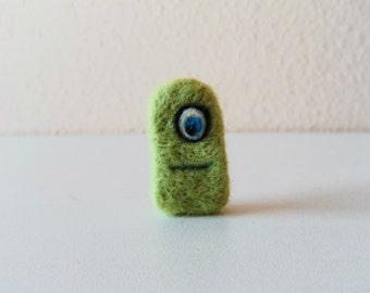 Needle felted animal, needle felted green monster,needle felted creature,needle felted green monster halloween,