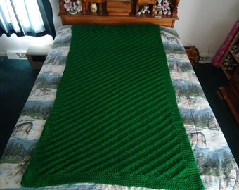 Kelly Green Hand Knitted Diagonal Stripe Afghan, Blanket, Throw - Home Decor