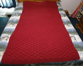 Country Rose Hand Knitted Basketweave Afghan, Blanket, Throw - Free Shipping