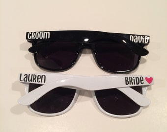 Set of 2 Bride & Groom Sunglasses Great Bridal Shower Gift - Custom Sunglasses - Bachelorette Party Gift Personalized Sunglasses