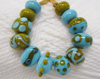 Lampwork Beads in Turquoise and Relish with a Touch of Mustard- Handmade Set 1