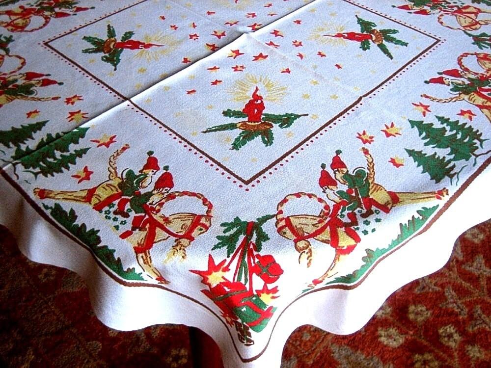 Vintage Christmas Tablecloth Retro Holiday Sailcloth Table