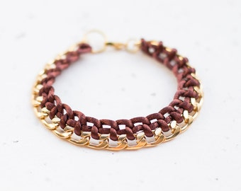 Gold Chain Braided Bracelet Chocolate Brown Cord friendship bracelet Modern minimalist jewelry