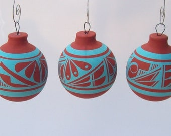 Ornament Southwest Bulb Rustic Turquoise SET OF 3
