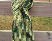 Bulky Ribbed Scarf, Hand Crocheted, Alpaca Blend Snuggle Yarn, Group of Greens, Made To Order