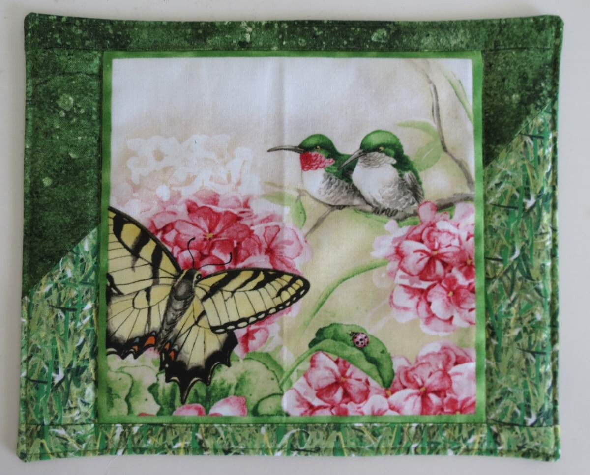 Mug rug snack placemat hummingbirds and flowers by minimade