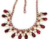 Red and Clear Baguette Vintage Necklace