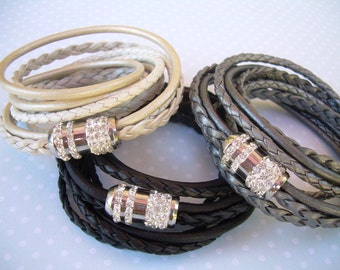 Womens triple wrap leather bracelet with a rhinestone stainless steel magnetic clasp, Womens Jewelry, Womens Bracelet, Leather Bracelet