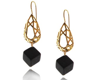 Pear Shaped Earrings, Geometric Dangle Earrings, Geometric Earrings, Onyx Earrings, Gifts for Her, Earrings, Cube Earrings, Free Shipping