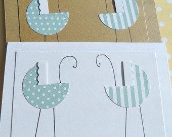 Cards for Twin Babies Welcome Twins Card Baby Buggy Cards Baby Gift Thanks You Card Twin Boys GBBC1