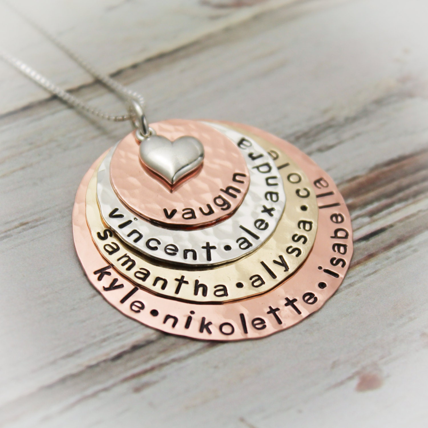 Personalized grandmother necklace mixed metals grandma for Grandmother jewelry you can add to